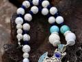 Magnesite, quartz crystal/turquoise/conchlapis beads