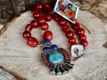 Red coral/turquoise/lapis