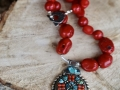 Red coral/turquoise